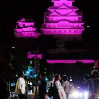 ピンクにライトアップした姫路城